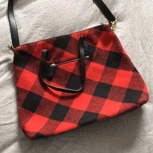 Buffalo plaid cross-body bag
